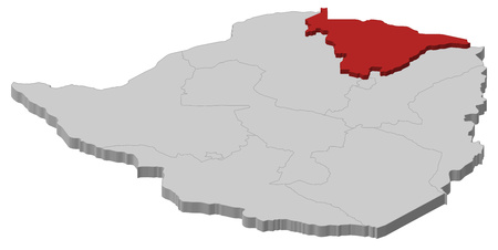 Map of Zimbabwe as a gray piece, Mashonaland Central is highlighted in red. Illustration