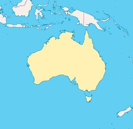 Map of Australia and nearby countries, Australia is highlighted. Illustration