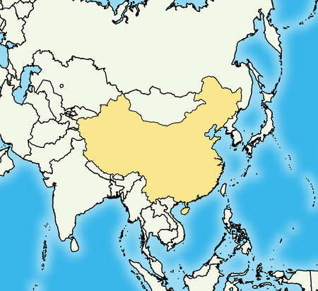 Map of China and nearby countries, China is highlighted.