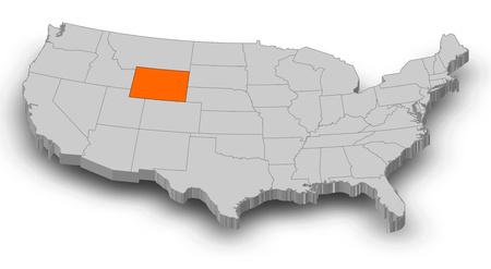 회색 조각으로 미국의지도 와이오밍 주황색으로 강조 표시됩니다.