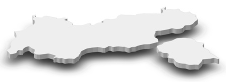 Map of Tyrol, a province of Austria, as a gray piece with shadow.