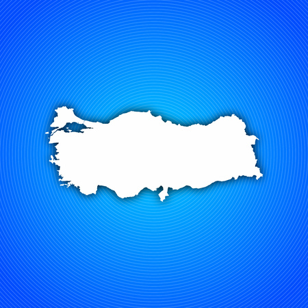 Map of Turkey with circled background in blue. Stock Photo
