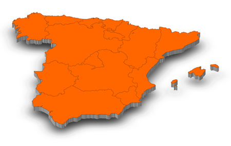 Map of Spain as a gray piece with shadow.