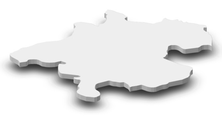 upper austria: Map of Upper Austria, a province of Austria, as a gray piece with shadow. Stock Photo
