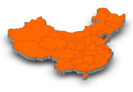 Map of China as a gray piece with shadow. Stock Photo