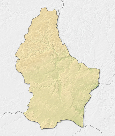 shady: Relief map of Luxembourg with shaded relief, nearby countries are in black an white. Stock Photo