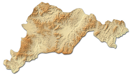 Relief map of El Para?so, a province of Honduras, with shaded relief.