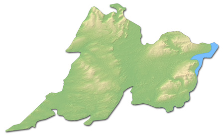 Relief map of Clare, a province of Ireland, with shaded relief.