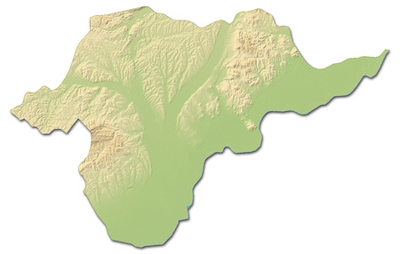 Relief map of Borsod-Abauj-Zemplen, a province of Hungary, with shaded relief. Stock Photo