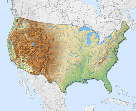 shady: Relief map of United States with shaded relief, nearby countries are in black an white.