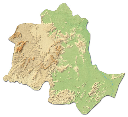 Relief map of Potaro-Siparuni, a province of Guyana, with shaded relief.