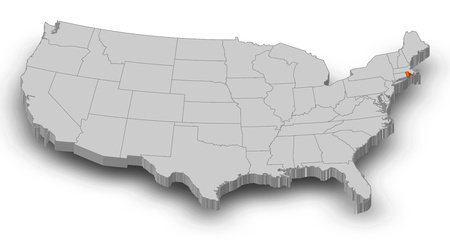 shady: Map of United States as a gray piece, Rhode Island is highlighted in orange.