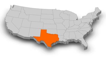灰色の部分は、テキサス州としてアメリカ合衆国の地図は、オレンジ色でハイライトされます。 写真素材