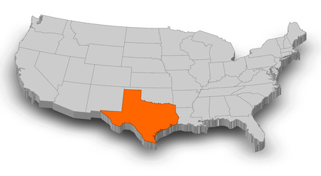 Map of United States as a gray piece, Texas is highlighted in orange.