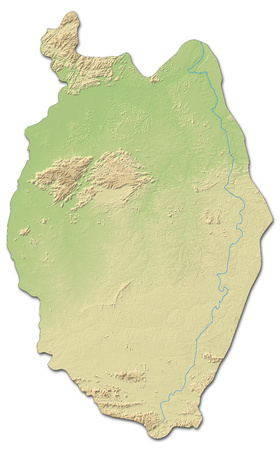 Relief map of Upper Demerara-Berbice, a province of Guyana, with shaded relief.