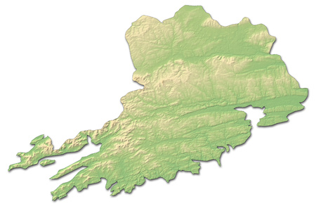 Relief map of Cork, a province of Ireland, with shaded relief. Stock Photo