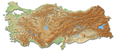 Relief map of Turkey with shaded relief.