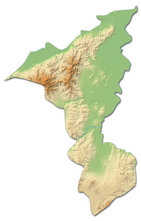 shady: Relief map of Cortes, a province of Honduras, with shaded relief.