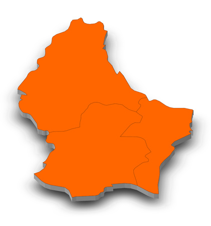 Map of Luxembourg as a gray piece with shadow. Stock Photo