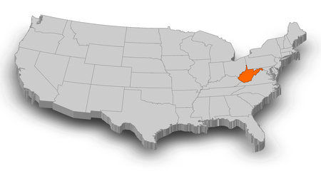 Map of United States as a gray piece, West Virginia is highlighted in orange.