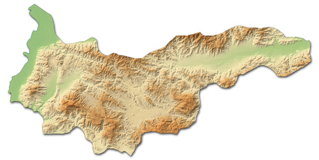 Relief map of Yoro, a province of Honduras, with shaded relief.