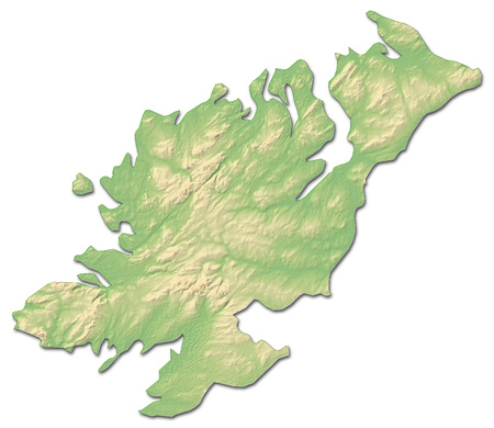 Relief map of Donegal, a province of Ireland, with shaded relief. Stock Photo