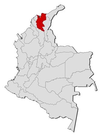 Map of Colombia with the provinces, Magdalena is highlighted.