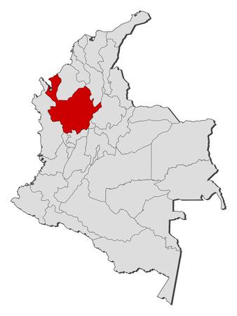 Map of Colombia with the provinces, Antioquia is highlighted. Illustration