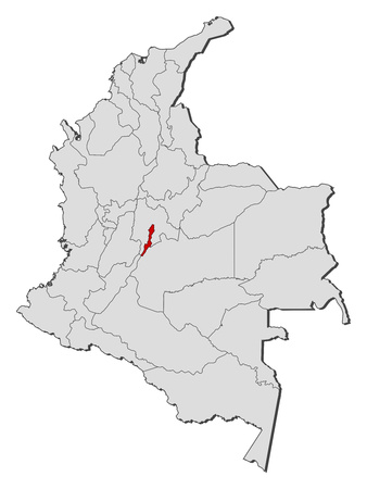 d mark: Map of Colombia with the provinces, Bogota is highlighted. Illustration
