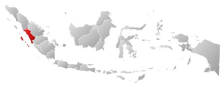 sumatra: Map of Indonesia with the provinces, filled with a linear gradient, West Sumatra is highlighted.
