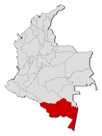 Map of Colombia with the provinces, Amazonas is highlighted.