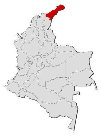 Map of Colombia with the provinces, La Guajira?? is highlighted. Illustration