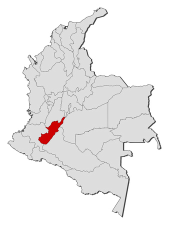 Map of Colombia with the provinces, Huila is highlighted. Illustration