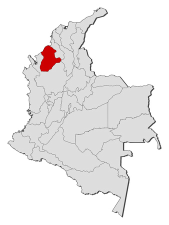 Map of Colombia with the provinces, Cordoba is highlighted.