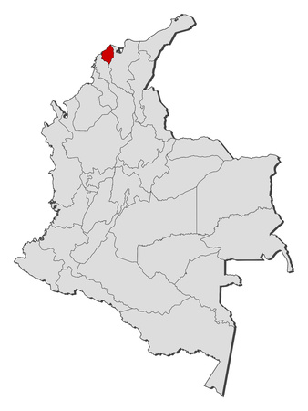 Map of Colombia with the provinces, Atlantico is highlighted.