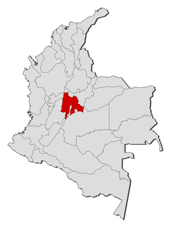 Map of Colombia with the provinces, Cundinamarca is highlighted.