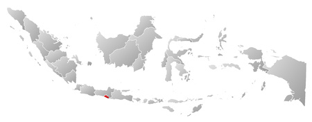 southeastern asia: Map of Indonesia with the provinces, filled with a linear gradient, Yogyakarta is highlighted.