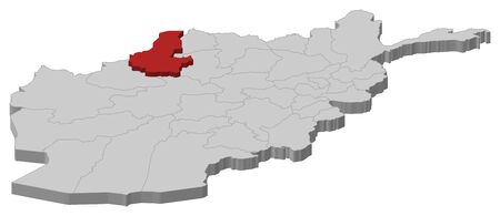 Map of Afghanistan as a gray piece, Faryab is highlighted in red. Illustration