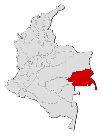 Map of Colombia with the provinces, Guainia is highlighted. Illustration