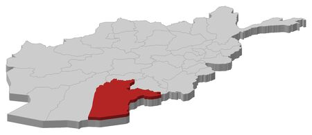 Map of Afghanistan as a gray piece, Kandahar is highlighted in red.