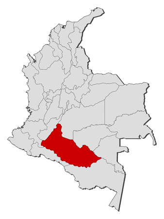 Map of Colombia with the provinces, Caqueta is highlighted.