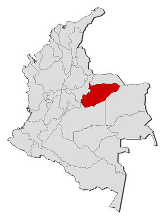 Map of Colombia with the provinces, Casanare is highlighted. Illustration