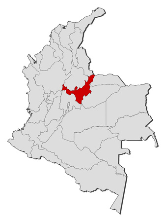 Map of Colombia with the provinces, Boyaca is highlighted.
