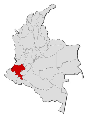 Map of Colombia with the provinces, Cauca is highlighted. Illustration