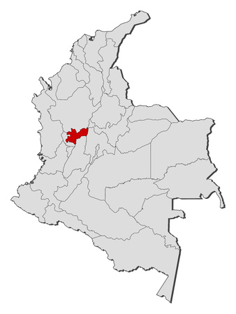 Map of Colombia with the provinces, Caldas is highlighted.