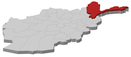 Map of Afghanistan as a gray piece, Badakhshan is highlighted in red.