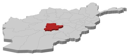 Map of Afghanistan as a gray piece, Daykundi is highlighted in red.