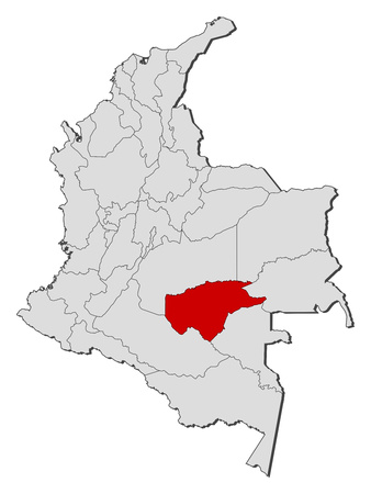 Map of Colombia with the provinces, Guaviare is highlighted.