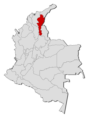 Map of Colombia with the provinces, Cesar is highlighted.