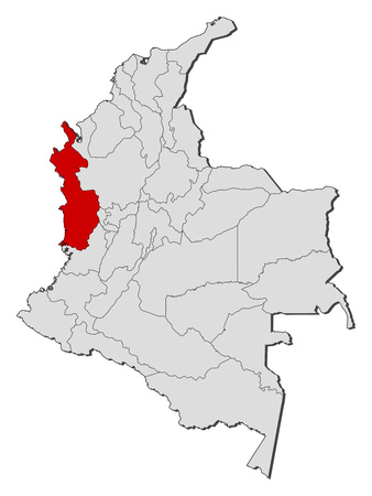 Map of Colombia with the provinces, Choco is highlighted.